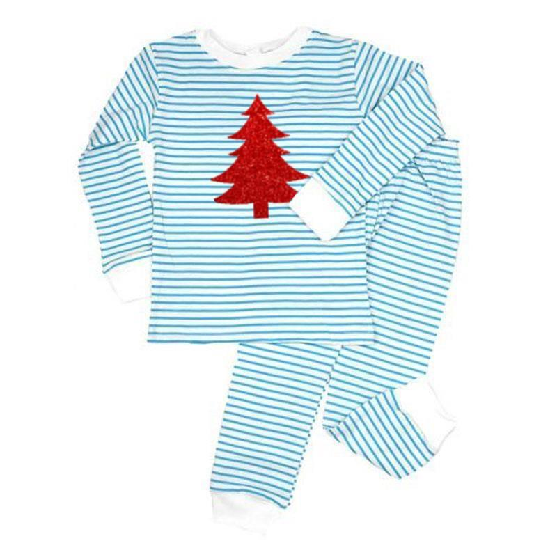 Light Blue Stripe Red Sparkle Christmas Tree Pajamas