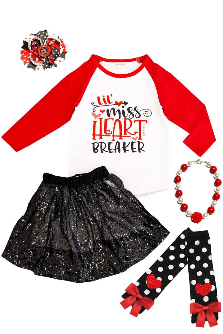 Lil Miss Heart Breaker Outfit Black Sequin Top And Skirt