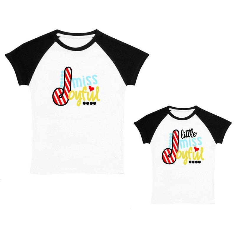 Little Miss Joyful Shirt Black Raglan Mommy And Me