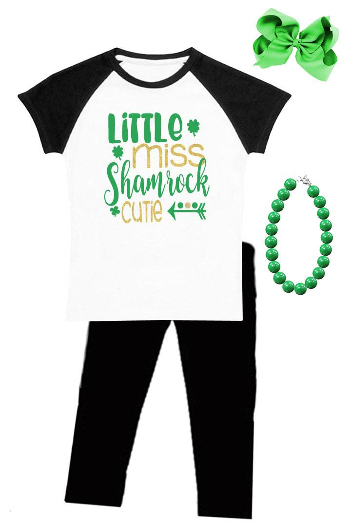 Little Miss Shamrock Cutie Outfit Black Raglan Top And Pants