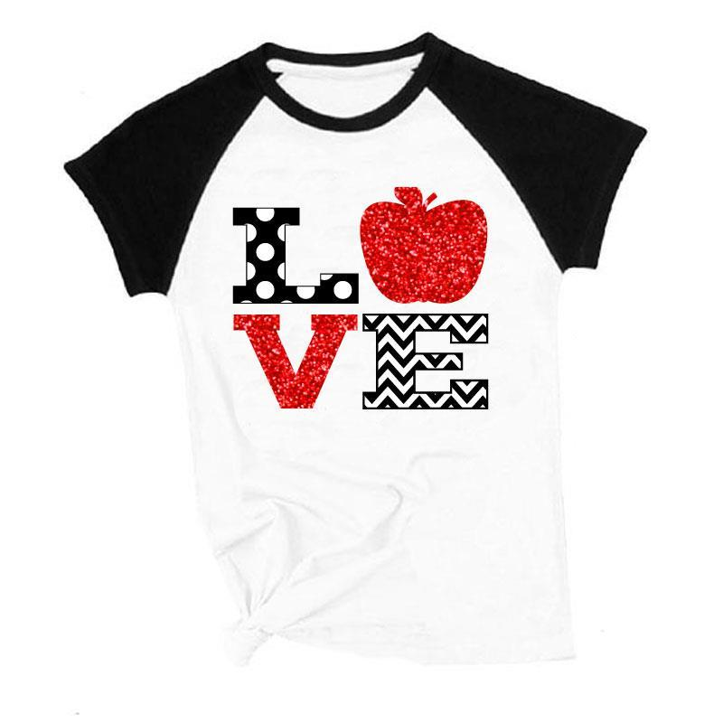 Love Apple Shirt Raglan Teacher Mommy And Me