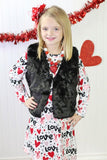 Love Heart Arrow Dress And Black Fur Vest