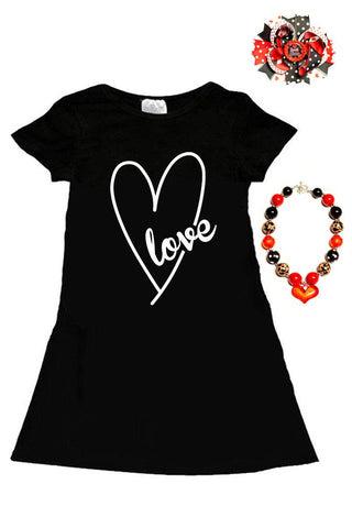Love Heart Dress Black Pockets