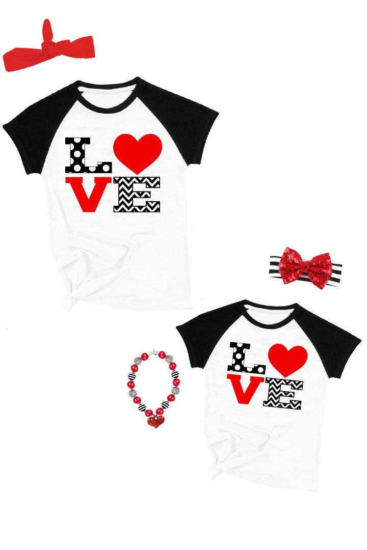 Love Heart Raglan Shirt Mommy And Me Black Polka Dot