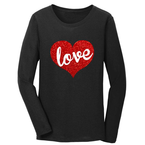 Love Heart Shirt Red Sparkle Mommy Me Black