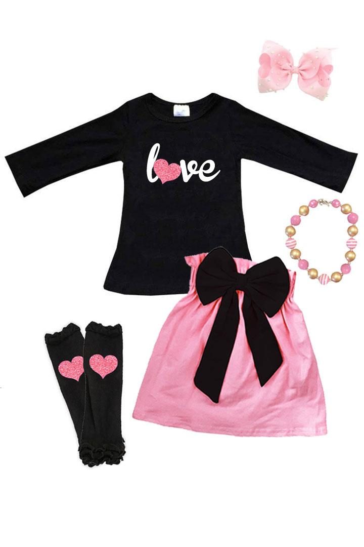 Love Pink Heart Outfit Sparkle Top And Skirt