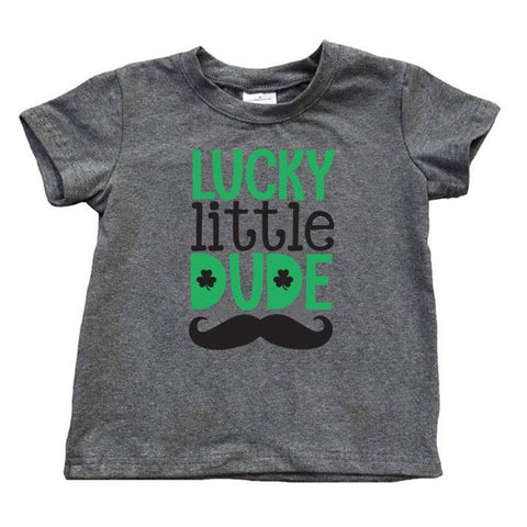 Lucky Little Dude Mustache Shirt Dark Heather Gray Short Sleeve Boy