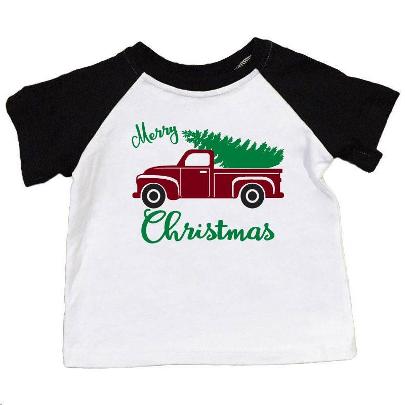 Merry Christmas Shirt Tree Truck Black Raglan Daddy And Me