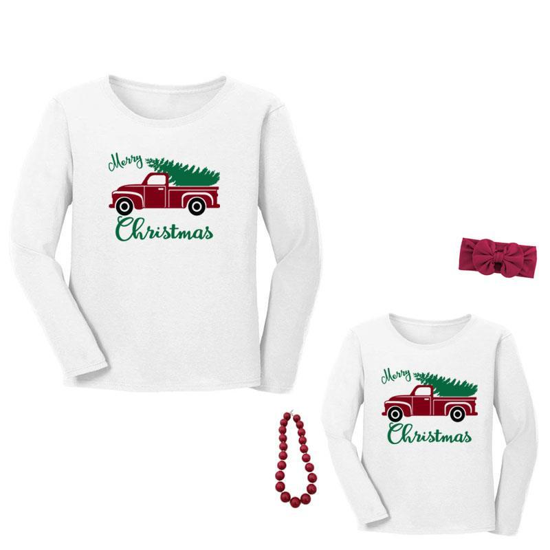 Merry Christmas Shirt Truck Tree Mommy And Me