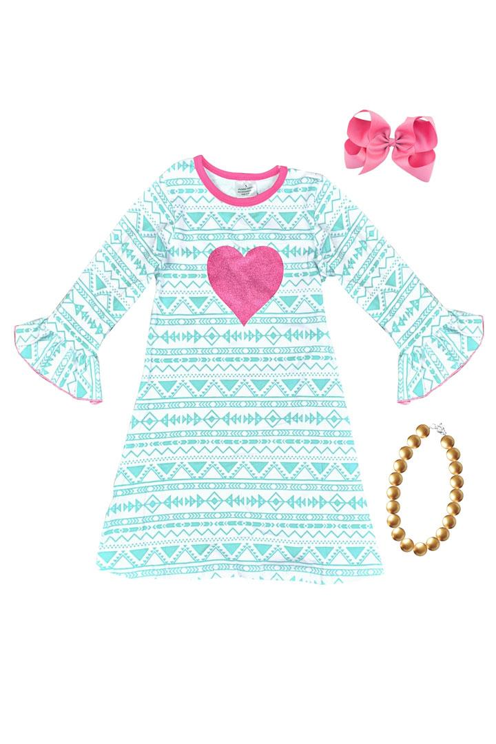 Mint Aztec Heart Dress Pink Sparkle