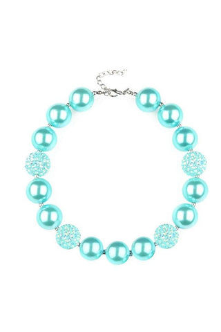 Mint Sparkle Necklace Pearl Chunky Gumball
