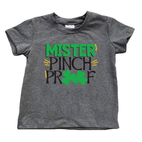 Mister Pinch Proof Shirt Dark Heather Gray Short Sleeve Boy