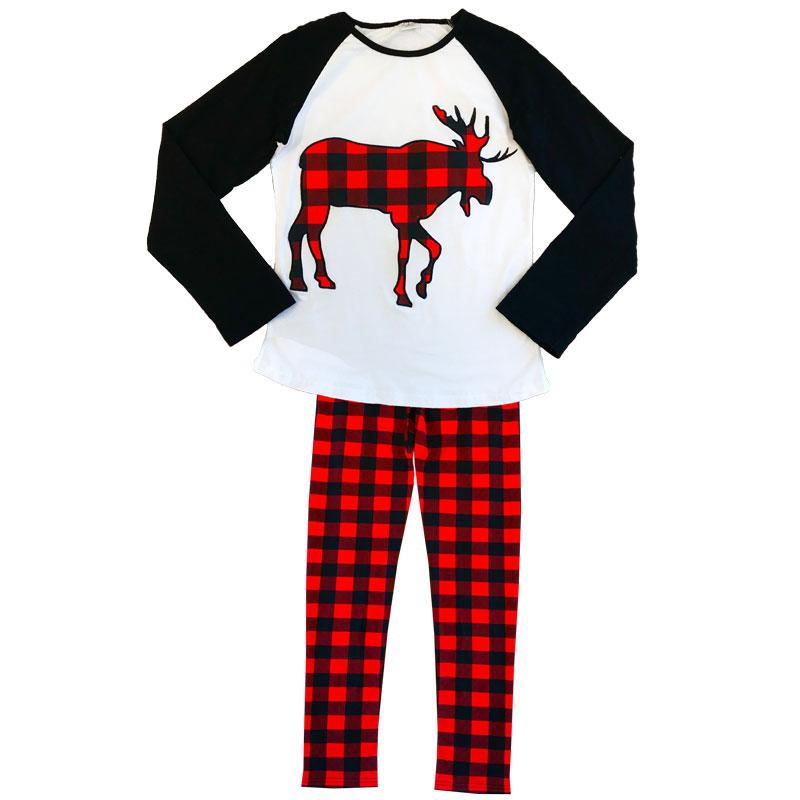 Moose Buffalo Plaid Pajamas Red Black Raglan Adult