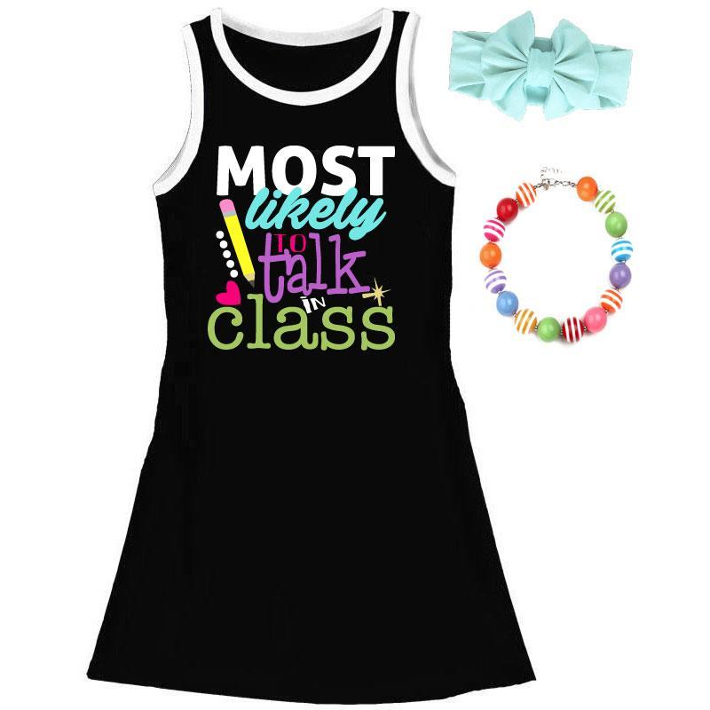 Most Likely To Talk In Class Tank Dress Black