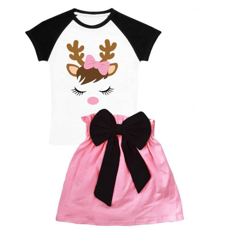 Reindeer Pink Outfit Black Bow Top And Skirt