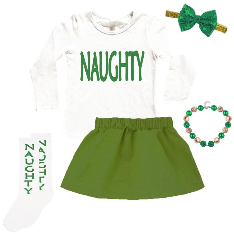 Naughty Christmas Outfit Olive Green Top And Skort