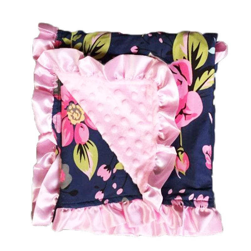 Navy Fall Floral Pink Minky Blanket