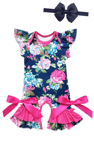 Navy Floral Pink Romper Spring Ruffle