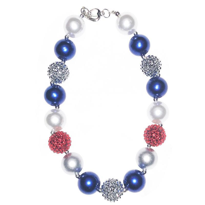 Navy Red Silver Sparkle Necklace Chunky Gumball