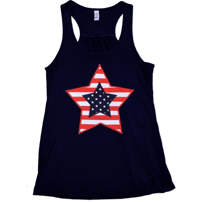 Navy Red Stripe Star Tank Top