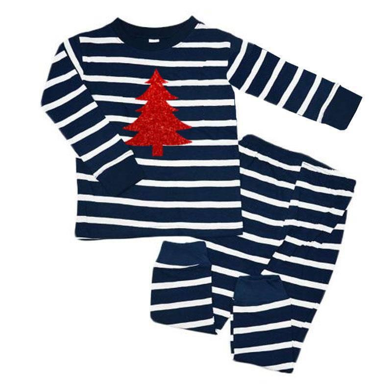 Navy Stripe Red Sparkle Christmas Tree Pajamas