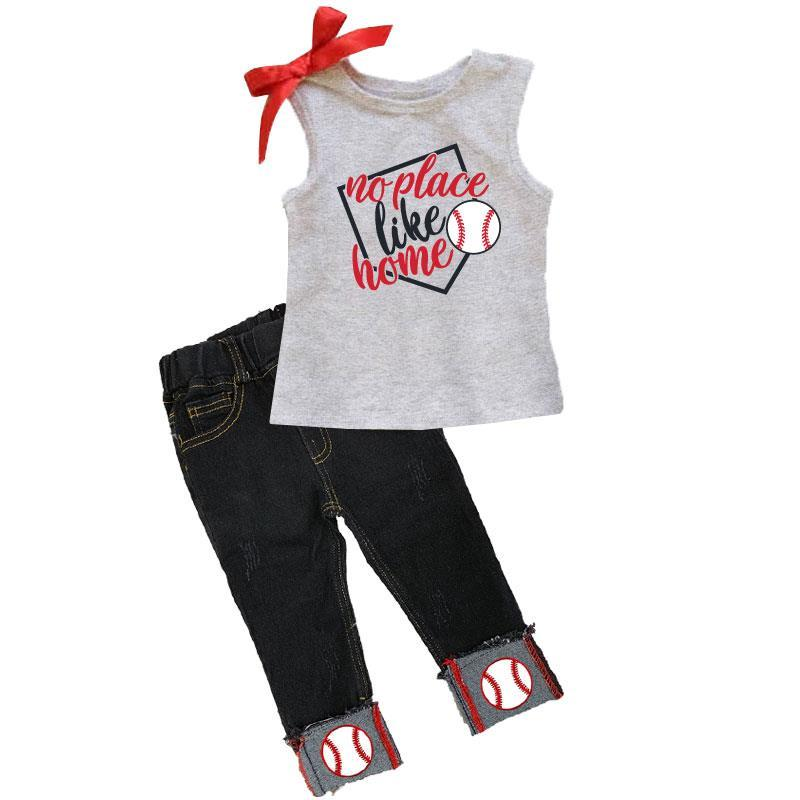 No Place Like Home Baseball Outfit Denim Gray Top And Capri
