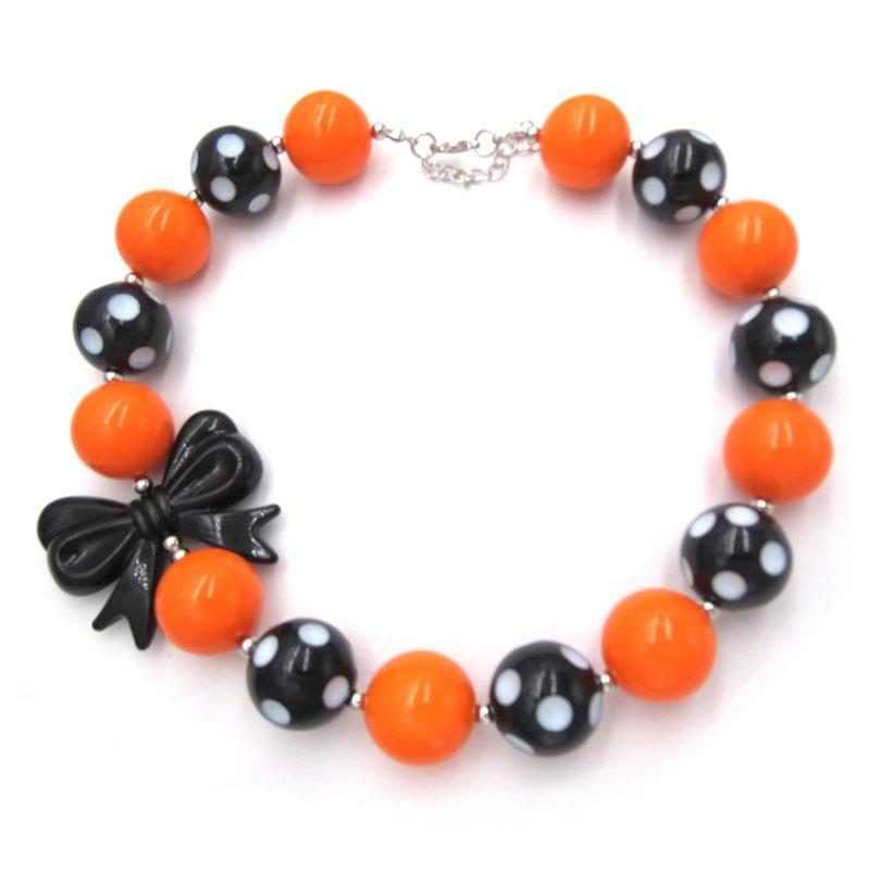 Orange Black Polka Dot Necklace Bow Chunky Gumball