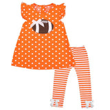Orange Football Outfit Polka Dot Stripe Top And Pants