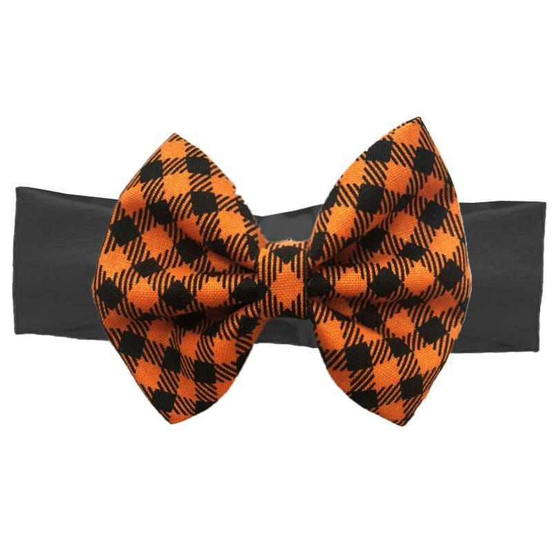 Orange Gingham Plaid Messy Bow Black Headband