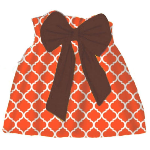 Orange Moroccan Skirt Brown Bow
