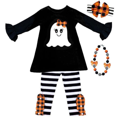 Orange Plaid Ghost Outfit Black Stripe Top And Pants