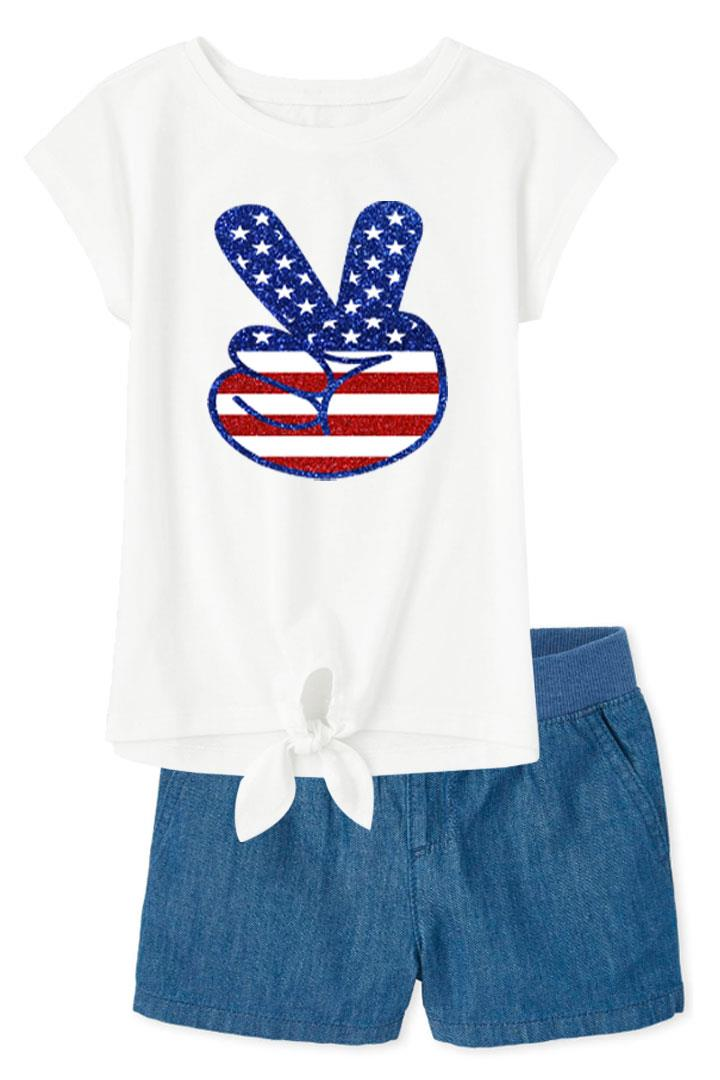 Peace Flag Outfit Sparkle Tie Top And Shorts