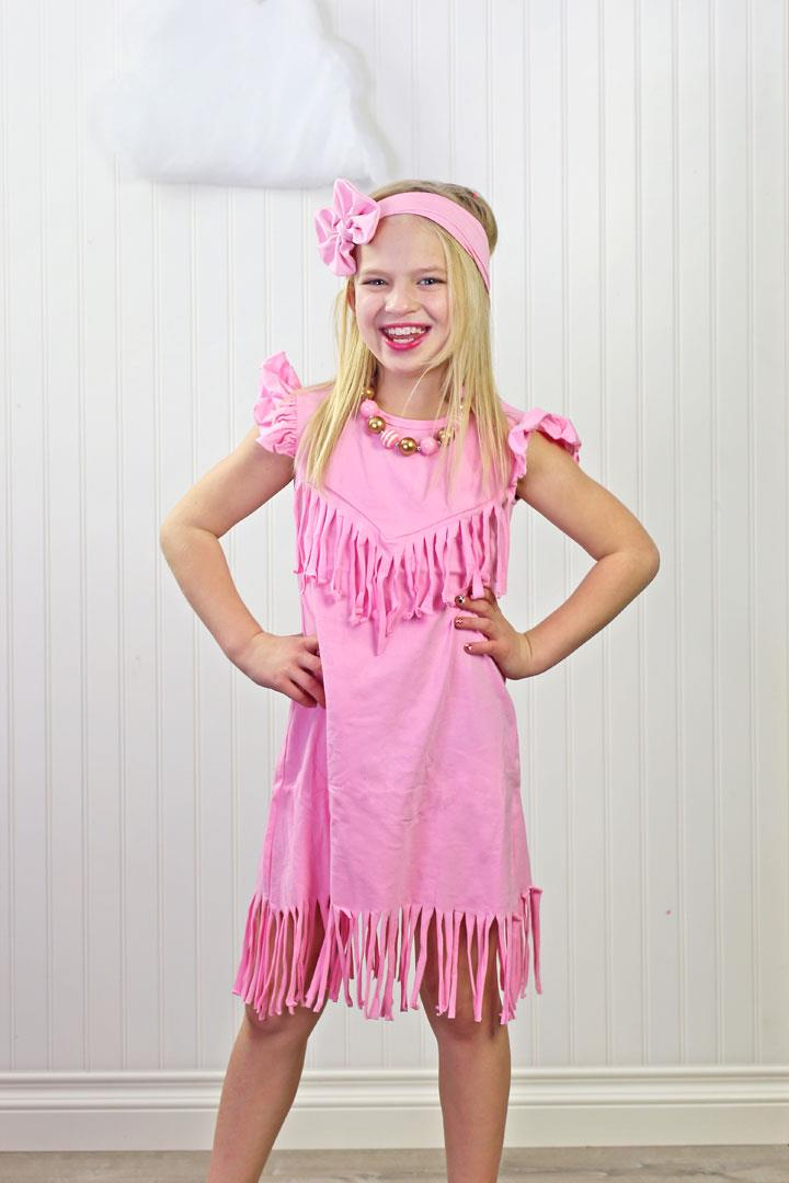 Pink Fringe Ruffle Dress