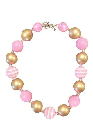 Pink Gold Necklace Stripe Chunky Gumball