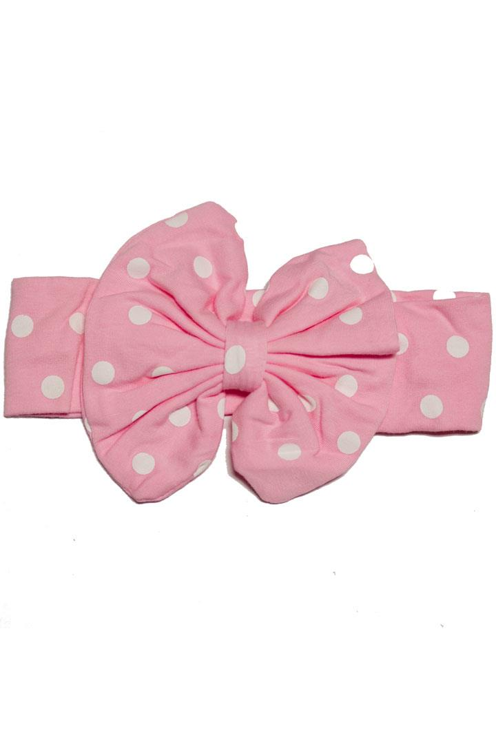 Pink Polka Dot Messy Bow Headband