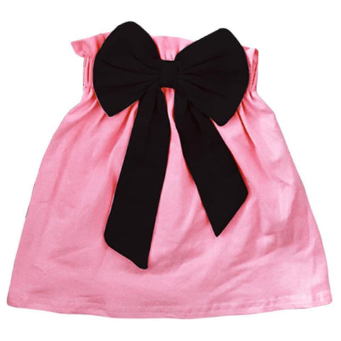 Pink Skirt Black Bow