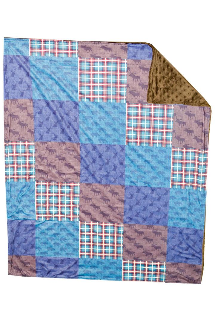 Plaid Deer Patchwork Brown Minky Blanket