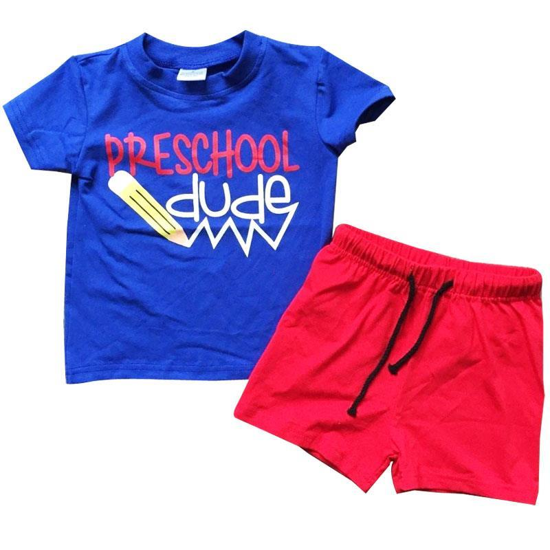 Preschool Dude Outfit Blue Top And Shorts Boy