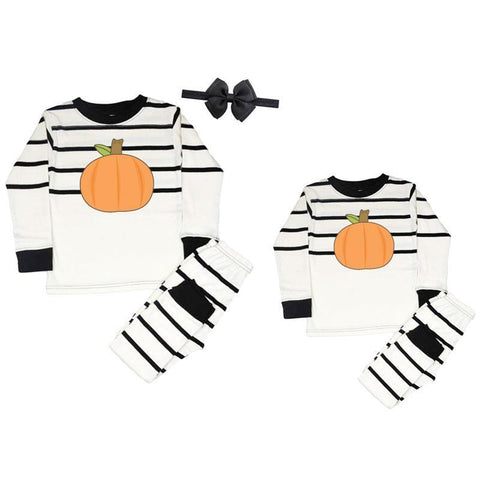 Pumpkin Pajamas Black Stripe
