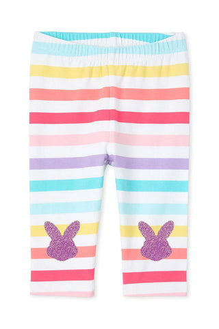 Purple Bunny Capri Rainbow Stripe