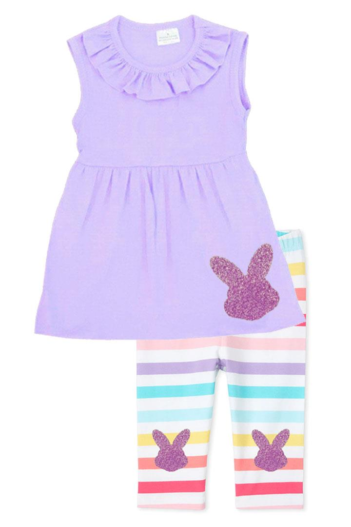 Purple Bunny Outfit Rainbow Stripe Top And Capri