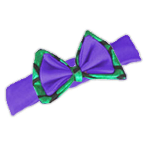 Purple Green Scale Messy Bow Headband