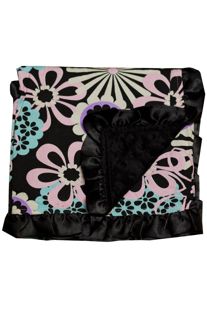 Purple Pink Wild Flower Black Minky Blanket