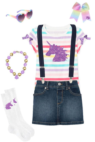 Rainbow Stripe Unicorn Outfit Denim Top Skirt And Suspenders