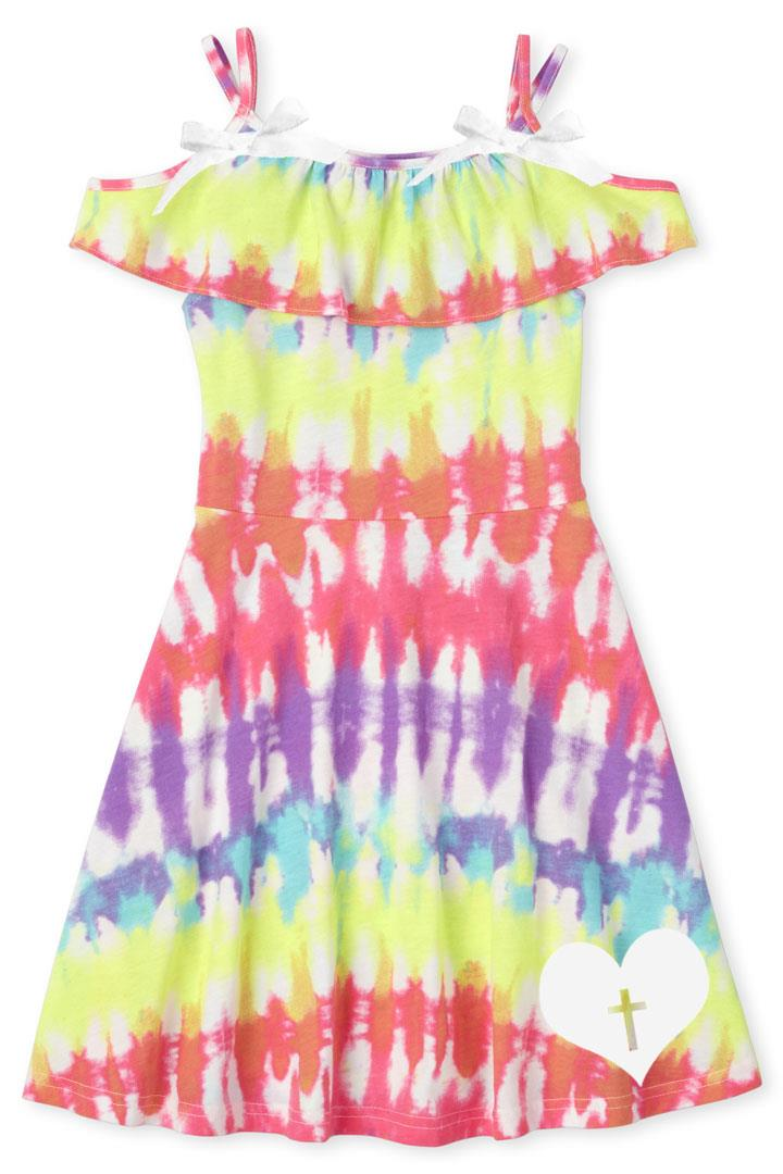 Rainbow Tie Dye Sun Dress Heart Cross Bow