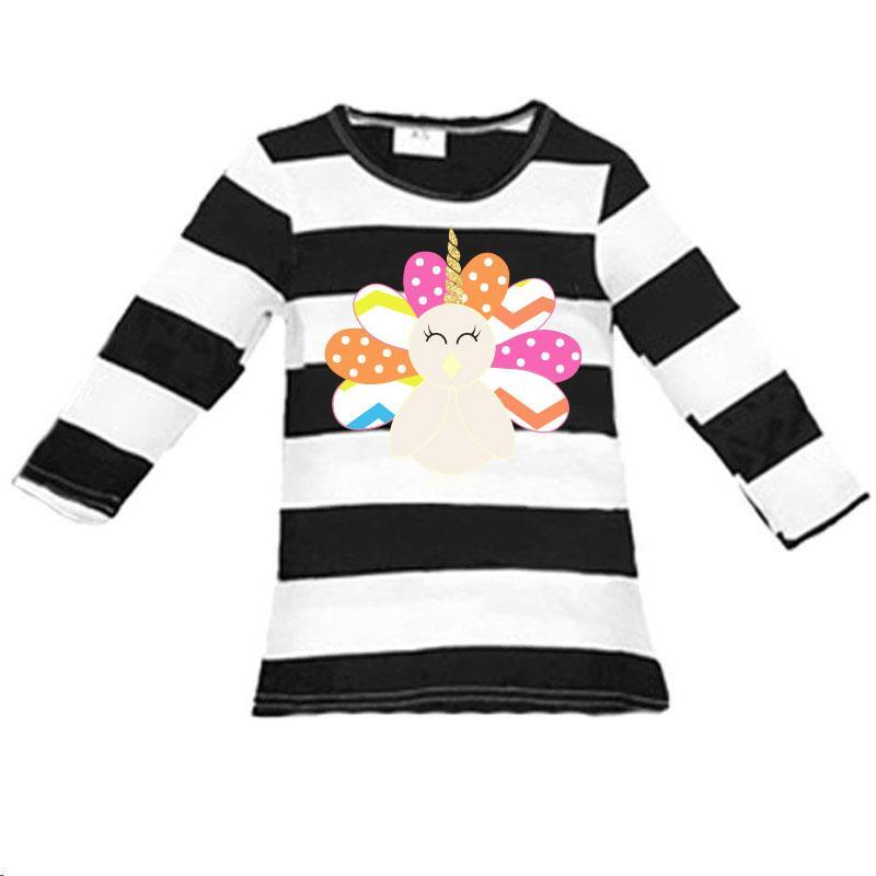 Rainbow Turkey Black Stripe Shirt Long Sleeve Mommy Me