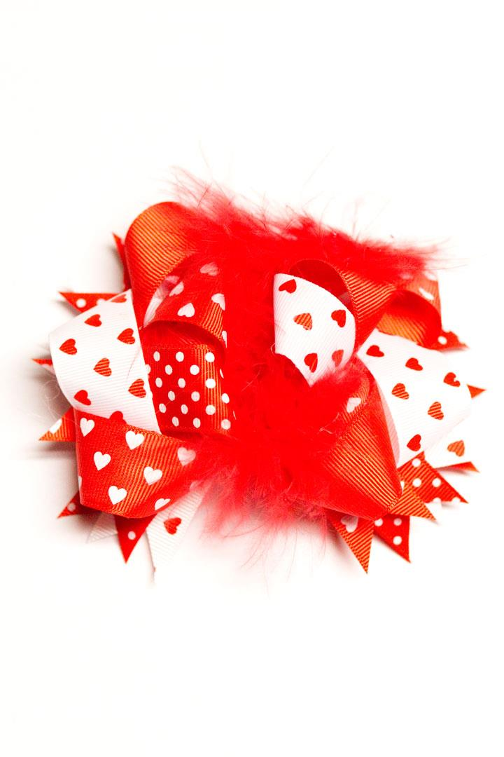 Red Heart Feather Hair Bow