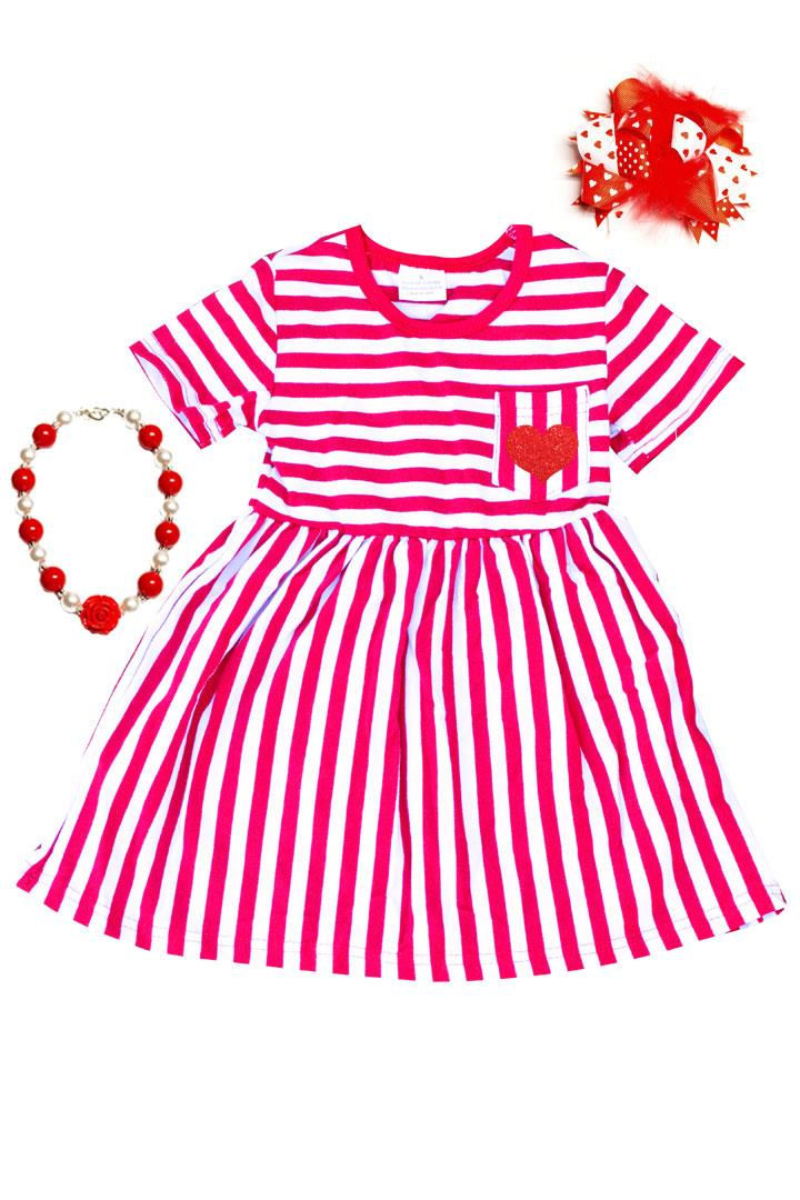 Red Heart Stripe Pocket Dress Sparkle