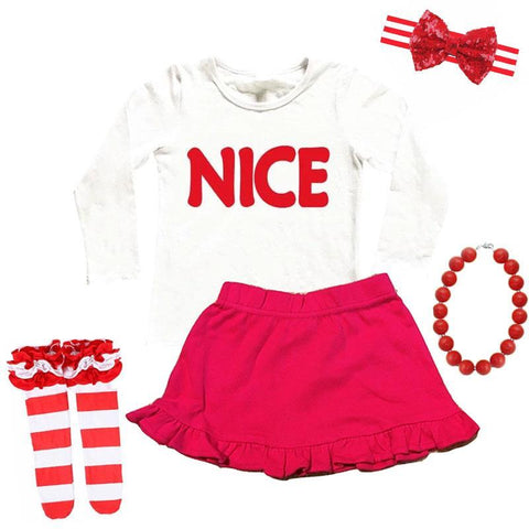 Red Nice Outfit Ruffle Top And Skirt
