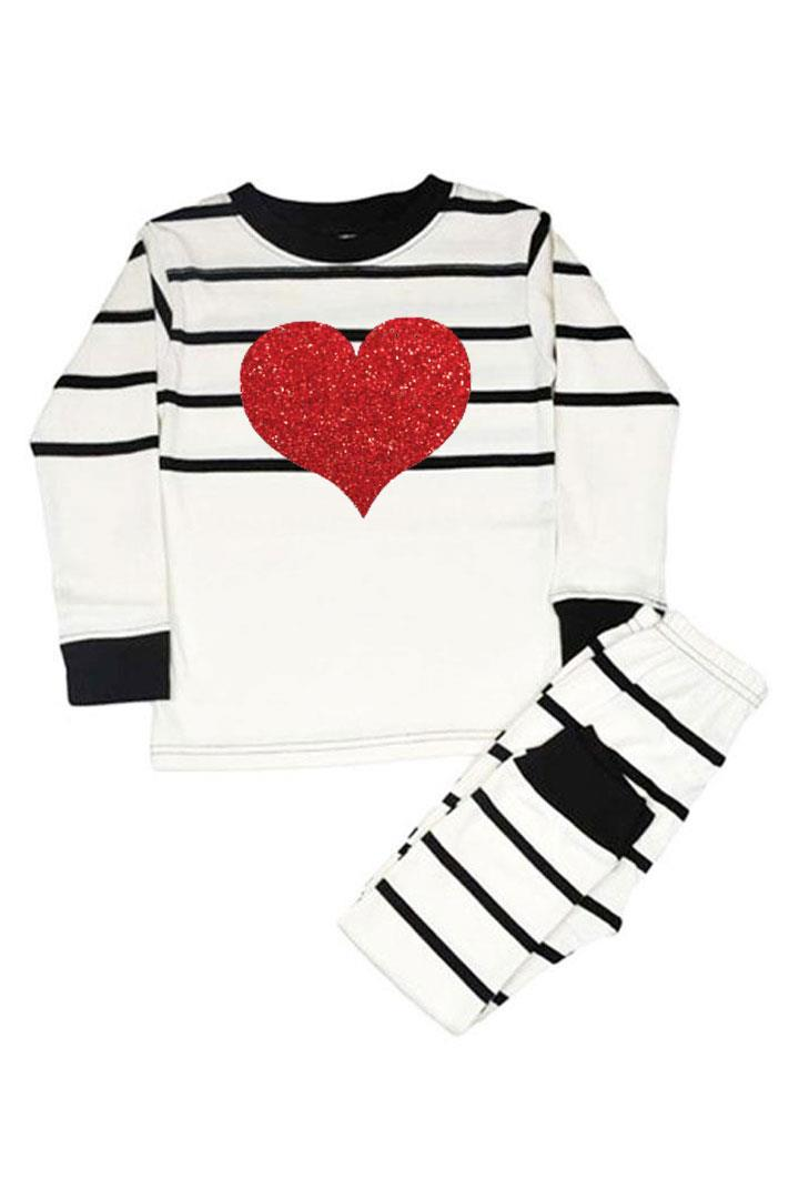 Red Sparkle Heart Pajamas Cream Black Stripe